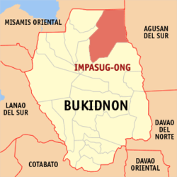 Map of Bukidnon showing the location of Impasug-ong