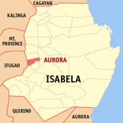 Map of Isabela showing the location of Aurora