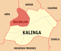 Map of Kalinga showing the location of Balbalan