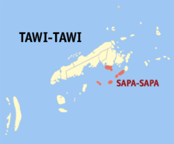 Map of Tawi-Tawi with Sapa highlighted-Sapa