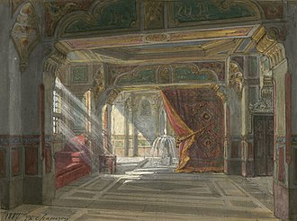 Oberon (Weber) - Philippe Chaperon's stage set  for the first scene of Act 2, designed for a revival of the opera at the Théâtre de l'Opéra-Comique in 1887
