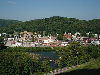 Philippi, West Virginia - Philippi, West Virginia, USA, from across the Tygart Valley River. This 2007 view includes the Philippi Historic District and the Barbour County Courthouse (just right of center).