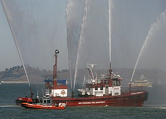 Phoenix (fireboat) - Phoenix leads a parade of ships during Fleet Week, October 2007