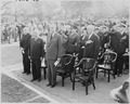 Photograph of President Truman and other dignitaries standing at attention during ceremonies at Arlington National... - NARA - 200241.tif