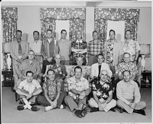 Joseph Short - Image: Photograph of President Truman with members of his official party (many attired in Hawaiian shirts), on vacation in... NARA 200549