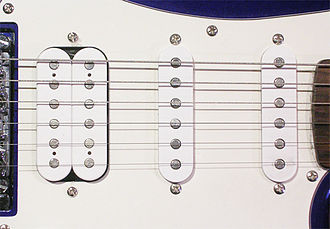 "Pickups on a Fender Squier ""Fat Strat"" guitar--a ""humbucker"" pickup on the left and two single-coil pickups on the right. Pickups Humb 2Single.jpg"