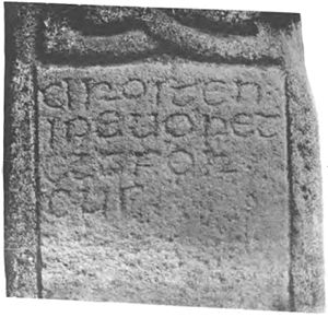Drosten Stone - The Drosten Stone, showing the inscription.