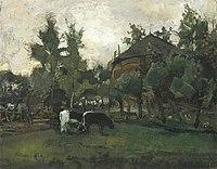 Piet Mondriaan - Farmyard sketch with two cows grazing - A322 - Piet Mondrian, catalogue raisonné.jpg