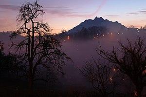 Mount Pilatus seen from Adligenswil in Switzerland