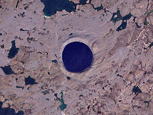 Image of Pingualuit Crater from Landsat 7 satellite image.