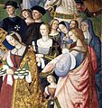 Pinturicchio, liberia piccolomini, 1502-07 circa, Enea Silvio, vescovo di Siena, presenta Eleonora di Portogallo all'imperatore Federico III 10 (particolare).JPG