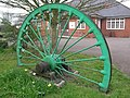 Pit wheel in front of community centre, Bagworth - geograph.org.uk - 929647.jpg