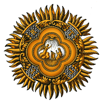 Supreme Order of the Most Holy Annunciation - The Annunciation to the Virgin Mary is depicted on the plaque surrounded by the motto F.E.R.T., and is worn on the left breast of a knight of the Order.