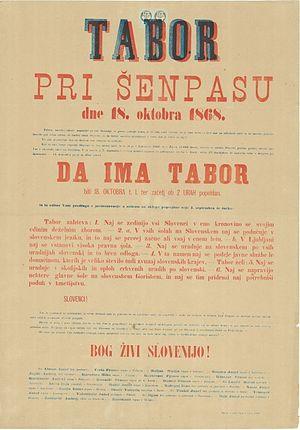 Karel Lavrič - Poster inviting to the mass rally (tabor) in Šempas near Gorizia