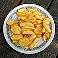 Plate of chips at the Chalet Cafe, Cowfold, West Sussex, England.jpg