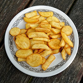 A plate of chips at the Chalet Cafe on the A281 Henfield Road in the Cowfold civil parish of West Sussex, England.