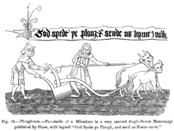 Ploughing with oxen. A miniature from an early-sixteenth-century manuscript of the Middle English poem God Spede ye Plough, held at the British Museum