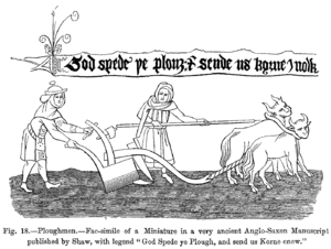 Goad - Ploughing with oxen: a miniature from an early-16th-century manuscript held at the British Museum. The ploughman on the right appears to carry a goad. The ox on the left appears to react to it. Note the spike or prod at the end of this goad.