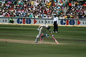 Run out - Michael Clarke avoids being run out during the Third Test against South Africa at the SCG in January 2009.