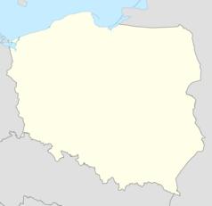 """Mapa konturowa Polski w latach 1951–1975, po lewej nieco na dole znajduje się punkt z opisem """"miejsce zdarzenia"""""""