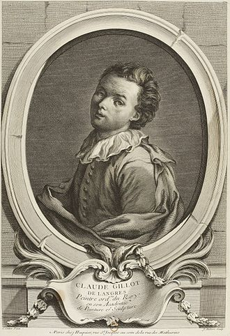 Claude Gillot - Claude Gillot, engraving by Jean Aubert after Watteau