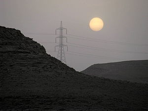 Energy in Saudi Arabia - Power line in the desert near Riyadh