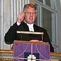 Präst i predikstol i Vaxholms kyrka, Lucia 2008.jpg