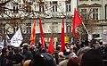 Praha, Václavské náměstí, Demonstrace 2011, rudé vlajky komunistů.jpg