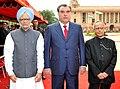Pranab Mukherjee and the Prime Minister, Dr. Manmohan Singh with the President of the Republic of Tajikistan, Mr. Emomali Rahmon at his ceremonial reception, at Rashtrapati Bhavan, in New Delhi on September 03, 2012 (2).jpg