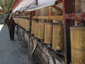 Samye - Image: Prayer wheels in Samye
