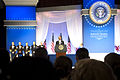 President Barack H. Obama, at lectern, delivers remarks amid senior enlisted U.S. Service members at the Commander in Chief's Ball at the Washington Convention Center in Washington, D.C 130121-A-TT930-097.jpg