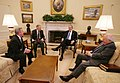 President George W. Bush and Vice President Dick Cheney speak with Senate Democratic leaders Harry Reid and Richard Durbin.jpg