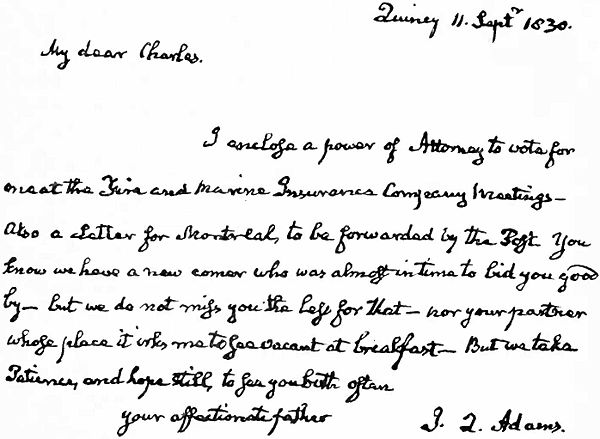 Presidents John Quincy Adams Facsimile Letter to C. F. Adams 11 Sept 1830.jpg