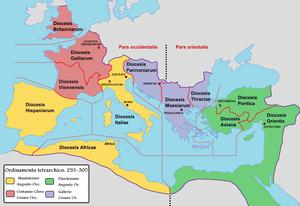 Partizione dell'Impero Romano con seguenti popolazioni e aree geografiche, III secolo.