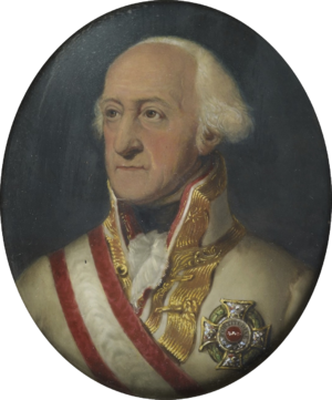 Prince Josias of Saxe-Coburg-Saalfeld - Portrait of the Prince, wearing Austrian military uniform with the ribbon and star of the Order of Maria Theresa of Austria.