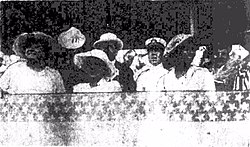 Prince and Princess Kalanianaole and group viewing racing and polo, 1916.jpg