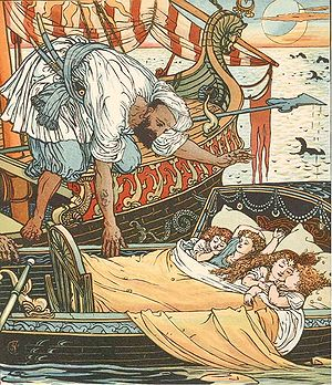Princess Belle-Etoile - The children of Queen Blondine and sister Brunette picked up by a Corsair after seven days at sea; illustration by Walter Crane