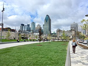 Quebec Autoroute 10 - The new Robert Bourassa Park which replaces the elevated structure in Downtown Montreal