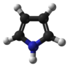 Ball-and-stick model of the pyrrole molecule