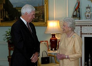 Monarchy of Australia - Governor-General Michael Jeffery and The Queen at Buckingham Palace, 2007