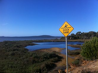 Quicksand - Quicksand warning sign near Lower King Bridge, Western Australia