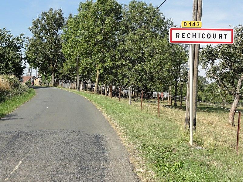 Réchicourt (Spincourt, Meuse) city limit sign