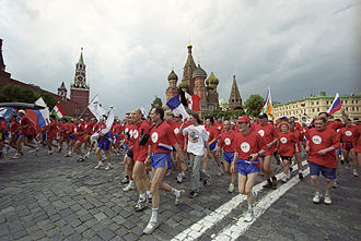 Sport in Russia - The 6th International Maxi-Marathon of Nuclear Workers on Moscow's central Vasilyevsky Spusk Square, 2001. Participants are workers from 14 countries having nuclear power plants in their territories.