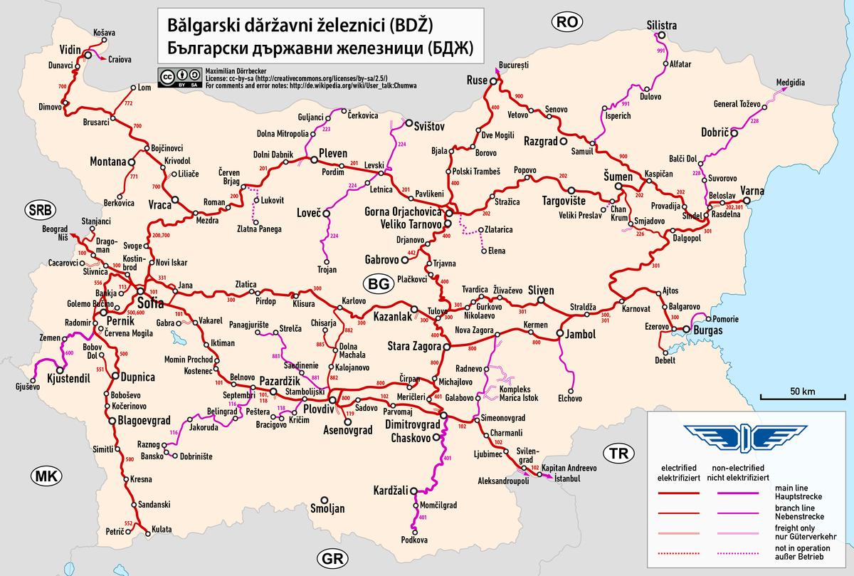 Bulgarian State Railways Wikipedia - Map of bulgaria