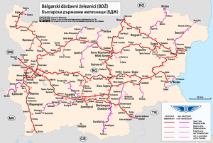 Bulgarian State Railways - Image: Railway map of Bulgaria