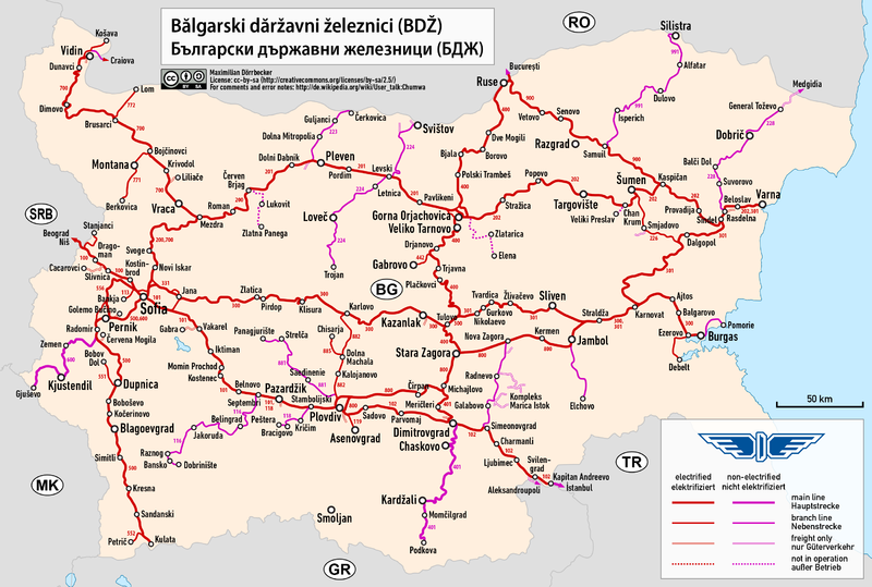 Fájl:Railway map of Bulgaria.png