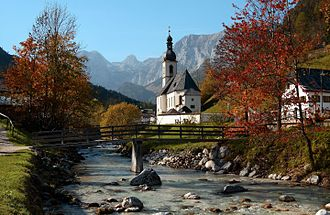 Ramsau bei Berchtesgaden - The Church of St. Sebastian, with the Reiter Alpe in background