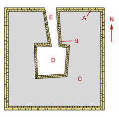 Outline of the pyramid of Neferefre. Essentially a square with a hole in the middle for the underground chambers and a passage leading to them.