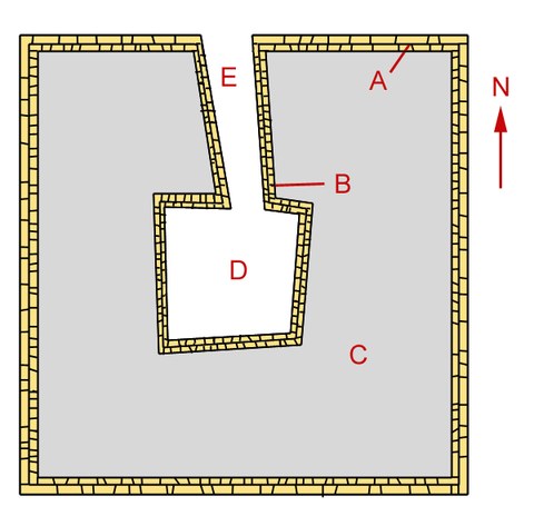 Structure of the first step of Neferefre's pyramid. A: External wall, B: Internal wall, C: Stepping fill, D: Pit for the underground chambers, E: Pit for entry. Raneferef-Pyramide.png