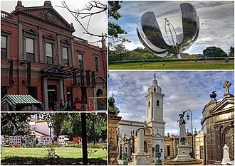 Recoleta, Buenos Aires - Clockwise from top: the Recoleta Cultural Center, Floralis Genérica, France Square and the Recoleta Cemetery with the Nuestra Señora del Pilar Basilica.